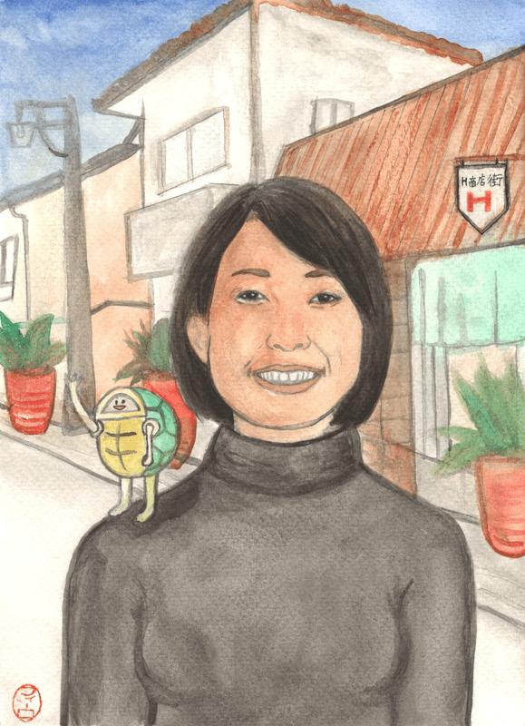 Portrait of Anna Namikawa, 2019, from the series 'Stories from Kameoka' (Kameoka Monogatari). 18 × 24 cm, aquarel on Fabriano 200 gram cold press watercolour paper.